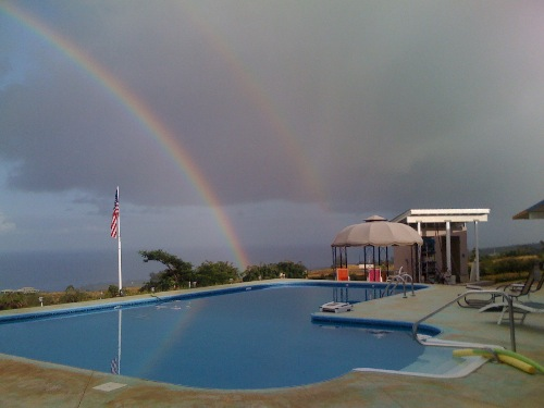 Rainbow over pool